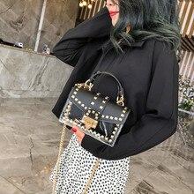 Женские новые роскошные сумки цепи городской Бег сумка женские заклепки прозрачные квадратные PU сумки