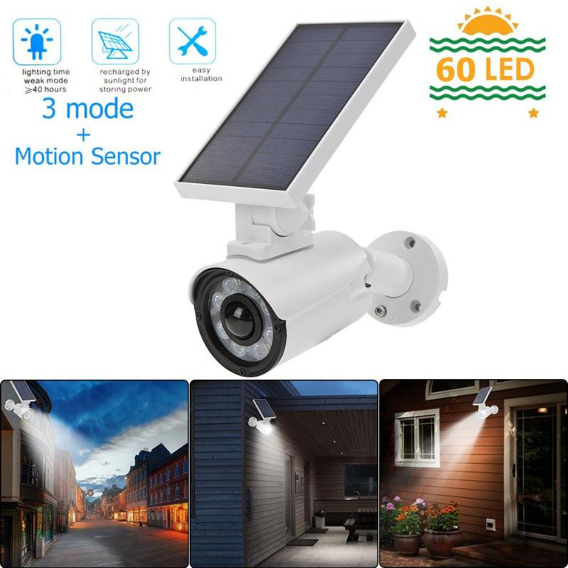 Led Solar Street Light Simulation Camera Motion Sensor Wall Lamp Outdoors Waterproof Garden Security Light