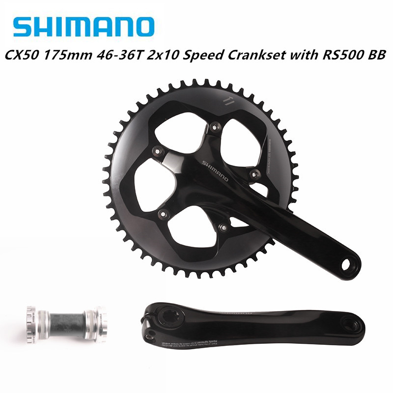 Shimano FC CX50 175mm 46-36T <font><b>2x10</b></font> Speed Crankset with RS500 Bottom Bracket Road Bike Bicycle CYCLOCROSS Crank image