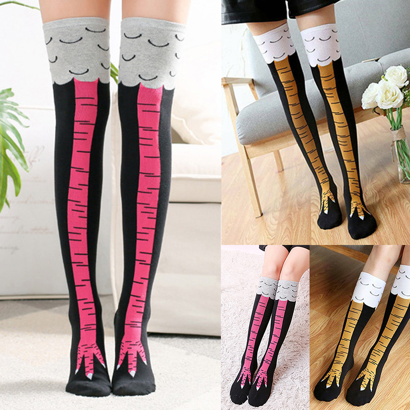 Women Crazy Funny Chicken Leg Cluck Novelty Knee Thight High Sock Breathable Fitness Gift O66