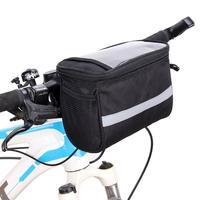 대용량 폴리 에스터 자전거 전면 바구니 내구성 방수 튜브 핸들 바 야외 스포츠 자전거 터치 스크린 전화 가방