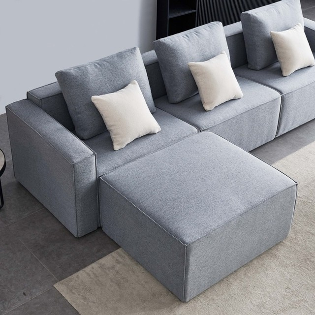 L-Shape Sofa Linen Sectional With Wide Armrest-Grey Modern Living Room Decorative Fast Shipping 4