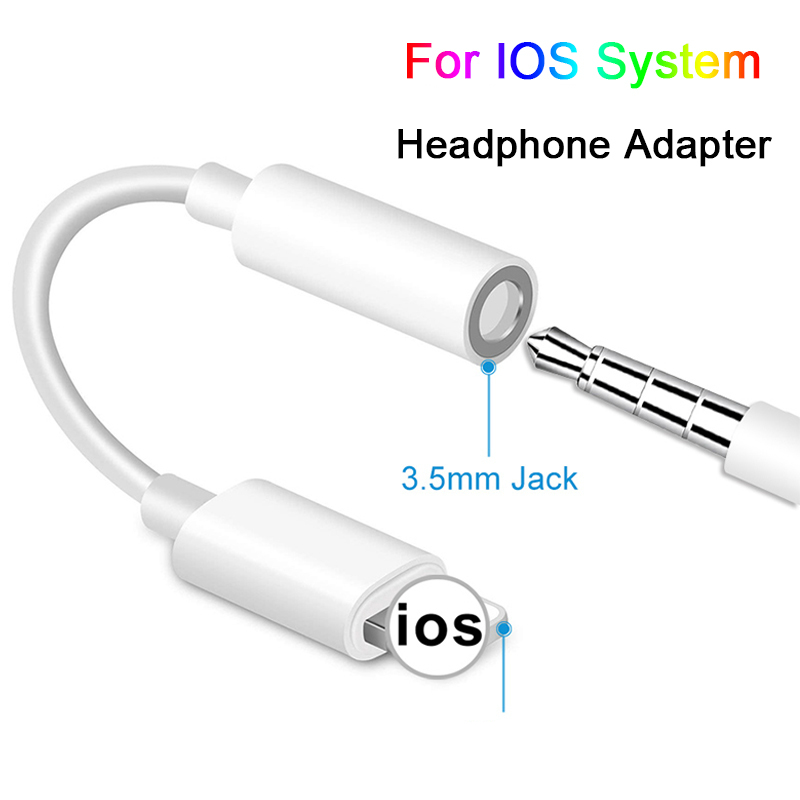 For Apple IOS Syetem Headphone Adaptador For <font><b>iPhone</b></font> 7 8 X AUX Audio <font><b>Adapter</b></font> for Lightning To 3.5mm <font><b>Adapters</b></font> Headphone <font><b>Jack</b></font> Cable image