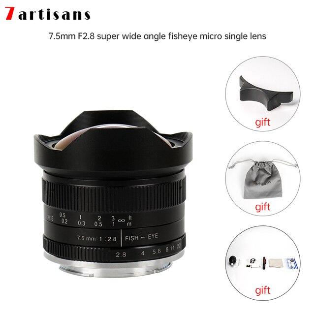 7 artesanatos 7.5mm f2.8 lentes de peixe, 180 APS C lentes fixas manuais para e montagem canon EOS M mount fuji fx venda quente montagem frete grátis