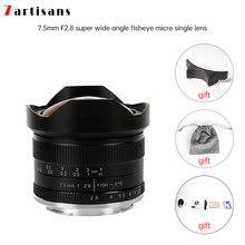 7 artesãos 7.5mm f2.8 fisheye lente 180 APS-C lente fixa manual para e montagem canon EOS-M montagem fuji fx montagem venda quente frete grátis