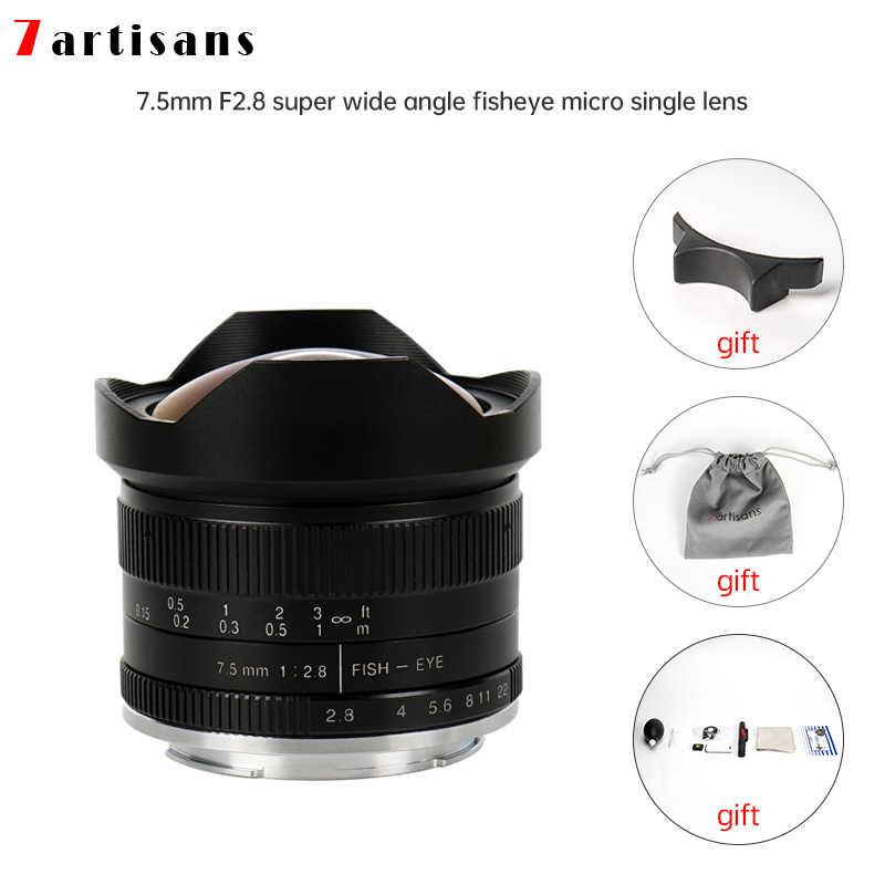 Black 7artisans 7.5mm F2.8 II APS-C Wide Angle Fisheye Fixed Lens ...