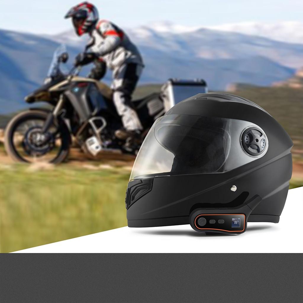 Motorcycle Bluetooth Intercom Interphone, Group Motorbike Helmet Communication System Headset, 3000m Range