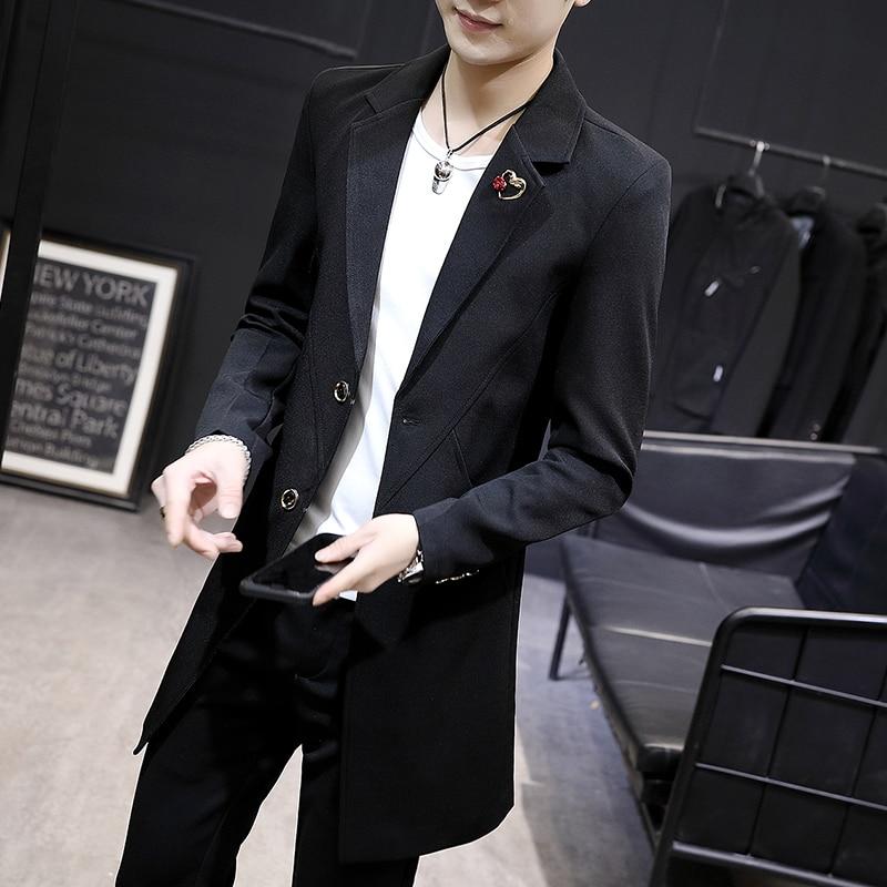 Autumn New Men Windbreaker Fashion Thin Slim Single Breasted Overcoat Casual Black Lapel Formal Medium Long Jackets Male M-3XL