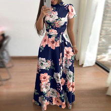 Women Lady Floral Long Dress Print Short Sleeve Belt Ball Gown Party Maxi Dress(China)