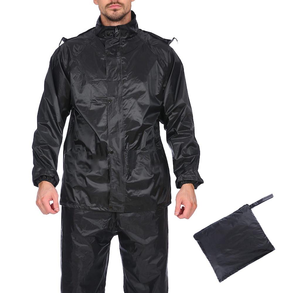 Men's Rain-proof Set Autumn Outdoor PVC Waterproof Lightweight Hooded Rain Coat+Pants Male Black Raincoat