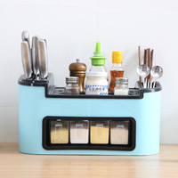 Kitchen Storage Rack Spice Storage Box Condiment Bottles Pepper Shakers Storage Rack Knife Fork Holder Organize Tool