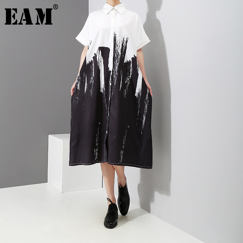 [EAM] Women Prints Split Joint Short Big Size Blouse New Lapel Short Sleeve Loose Fit Shirt Fashion Spring Summer 2020 1D7510