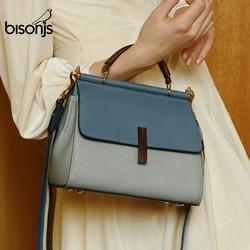 BISONJS Genuine Leather Luxury Handbags Women Bags Designer Large Capacity Female Messenger Bag Patchwork Shoulder Bag B1811