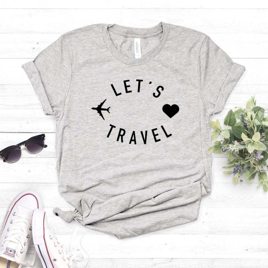 Let's Travel Women Tshirt Cotton Casual Funny T Shirt Gift For Lady Yong Girl Top Tee 6 Color Street Drop Ship S-800