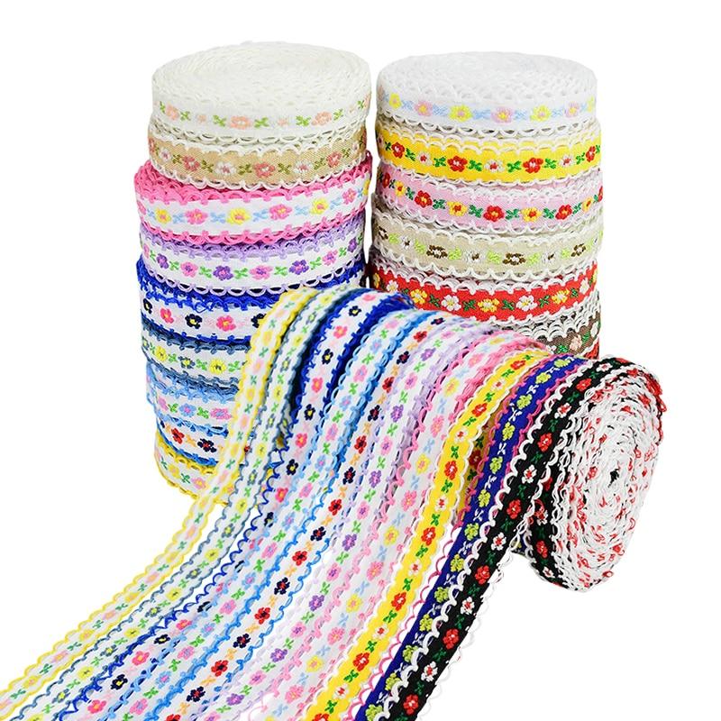 5Y işlemeli çiçek dantel Trim dikiş kumaş dantel rulo giyim giyim aksesuarları DIY el sanatları renkli naylon şerit süslemeler