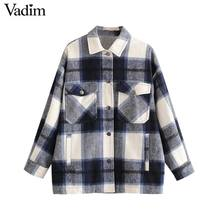 Vadim 여성 우아한 대형 격자 무늬 자켓 긴 소매 주머니 느슨한 스타일 코트 여성 사무복 캐주얼 기본 탑스 ca624