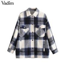 Vadim נשים אלגנטי גדול משובץ מעיל ארוך שרוול כיסי loose סגנון מעילי נקבה משרד ללבוש מזדמן בסיסי חולצות CA624