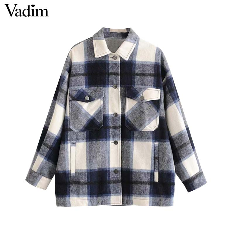 Vadim women elegant oversized plaid jacket long sleeve pockets loose style coats female office wear casual basic tops CA624 on AliExpress