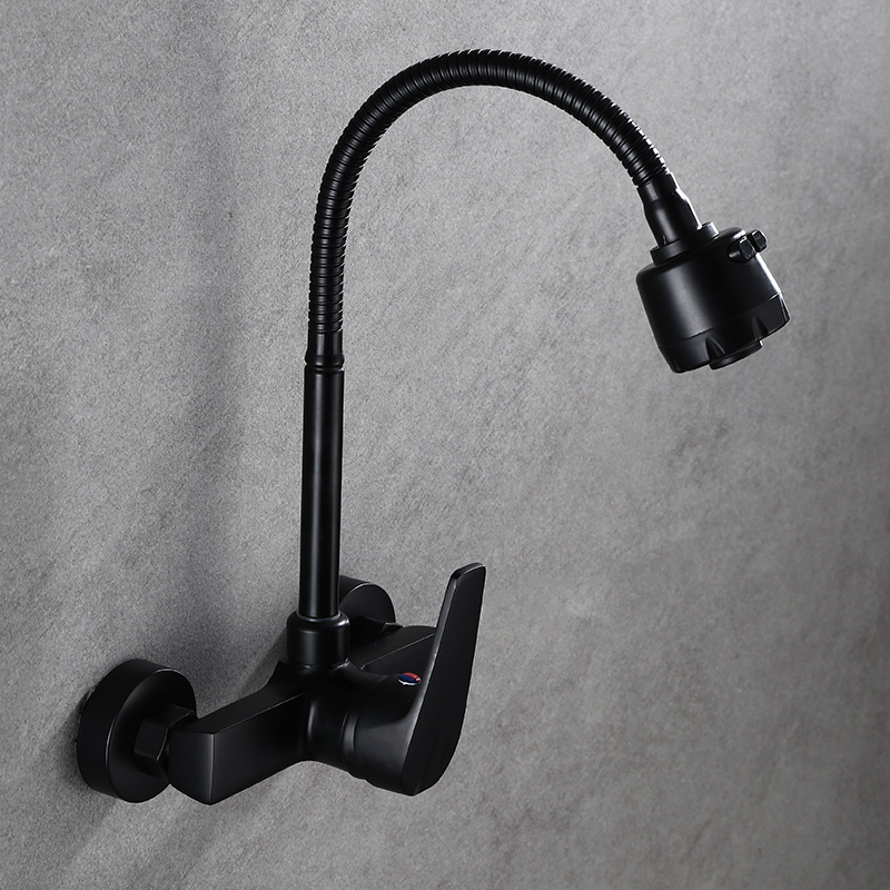 Black Brass Pot Filler Tap Wall Mounted Kitchen Faucet Cold And Hot Single Hole Tap Rotate Tap