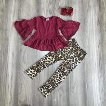 Herbst/winter baby mädchen kinder kleidung set outfits boutique leopard milch seide burgund wein rüschen hosen baumwolle match bogen