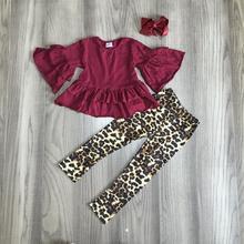 Outono/inverno das crianças do bebê meninas roupas set outfits boutique leopardo leite de seda cor de vinho vinho calças ruffles algodão jogo arco