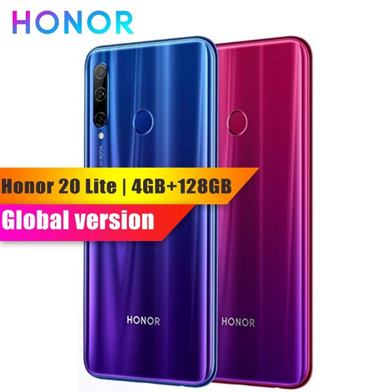 Global Version Honor 20 Lite 4GB 128GB FaceID Mobile Phone Huawei Kirin 710 Octa Core 3400mAh 32MP Camera Fingerprint Smartphone