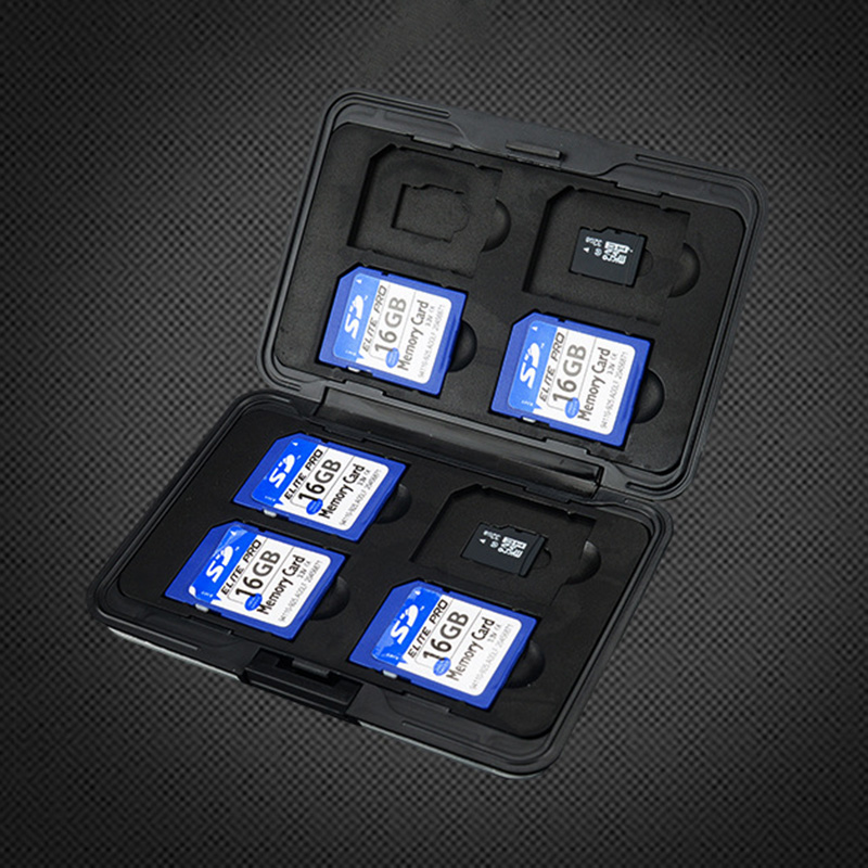 Portable Black Aluminum Memory Card Case 16 Slots (8+8) for Micro SD SD/ SDHC/ SDXC Card Storage Holder New Card Case-in Memory Card Cases from Computer & Office