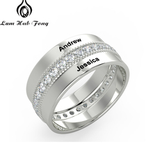 Personalized Name Ring Zircon Wide Rings for Women Engrave Custom Couple Promise Anniversary Gift (Lam Hub Fong)