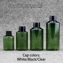 Free Shipping 200ml 150ml 100ml 50ml Green Plastic Bottle Empty Face Toners Shower Gel Shampoo Packaging Lotion Cream Container