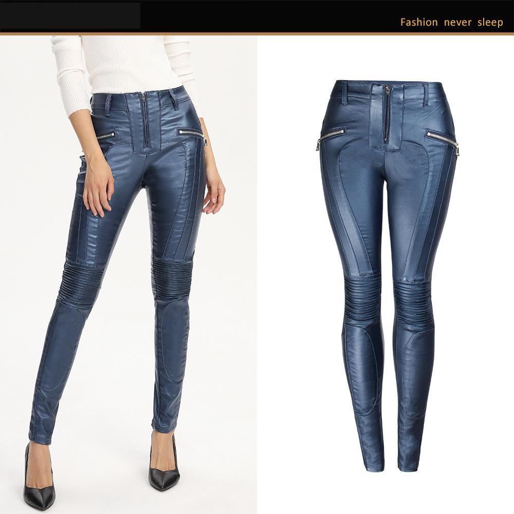 Women High Qulity Blue Biker Faux Leather Pants Punk Large Size Skinny Pants Winter Autumn Push Up Tight Slim Trouser Ladies