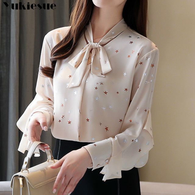 Plus size womens tops and blouses Summer women blouses 2020 white blouse long sleeve star print chiffon blouse women shirt top 2
