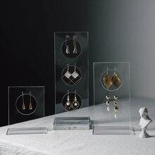 Вертикальный акриловые серьги Дисплей серьги выставочного стенда Серьги Органайзер держатель серьги с квадратными кристаллами чехол украшений подставки