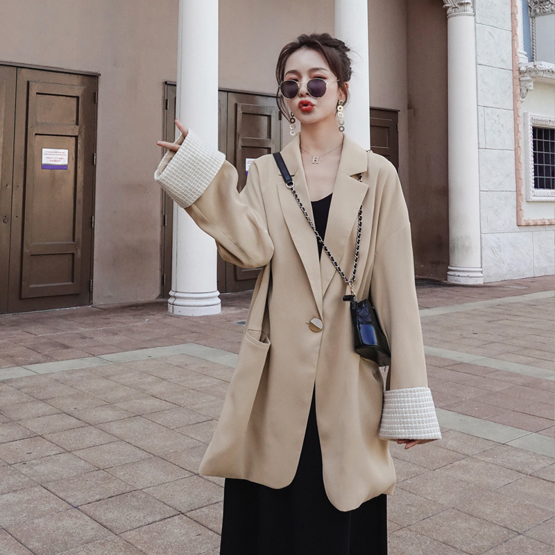 2020 New Spring Solid Collar Solid Color Casual Blazer High Quality Temperament Office Lady Short Suit Coat Women V510