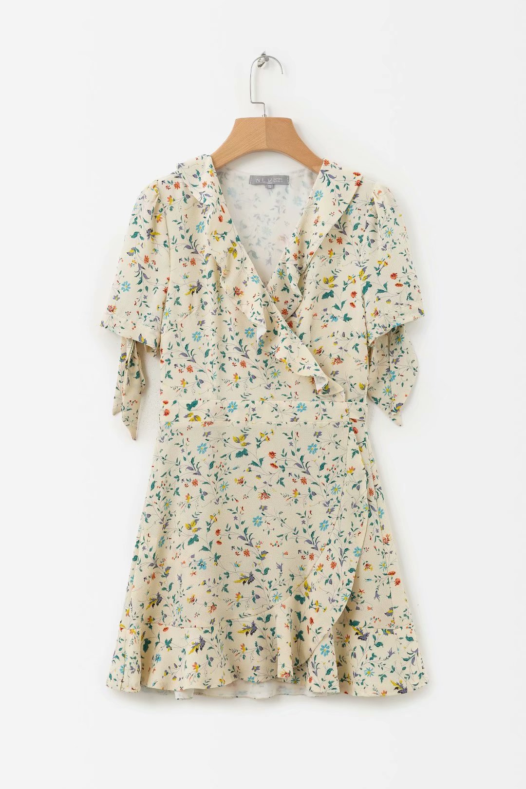 Autumn New Style Europe And America WOMEN'S Dress Fashion Flower Printed Loose-Fit V-neck Lace-up Short-sleeve Dress Short Skirt