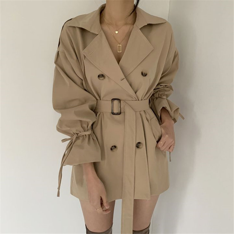 Hzirip 2020 Spring Autumn Loose Classic Regular Trench Coat New Flare Sleeves Fashion OL Overcoat Belt Female Windbreaker Coats
