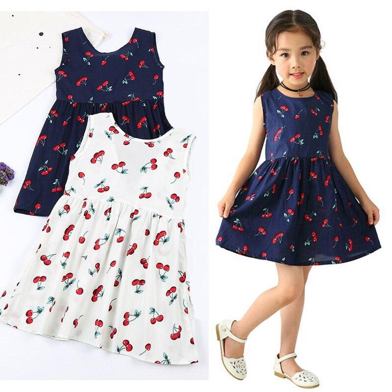 2020 Summer Girls Dress Kids Children Princess Dress For Girls Sleeveless Dress Soft Cotton Dresses Baby Girls Clothes Vestidos