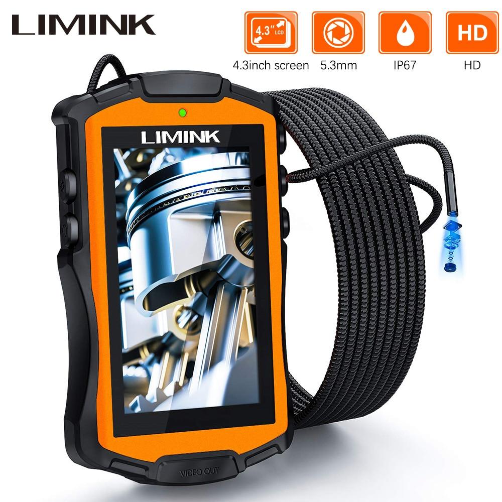 Камера Эндоскоп LIMINK, водонепроницаемая камера бороскоп IP67 с полужестким кабелем и ЖК дисплеем 5,3 мм, 4,3 дюйма