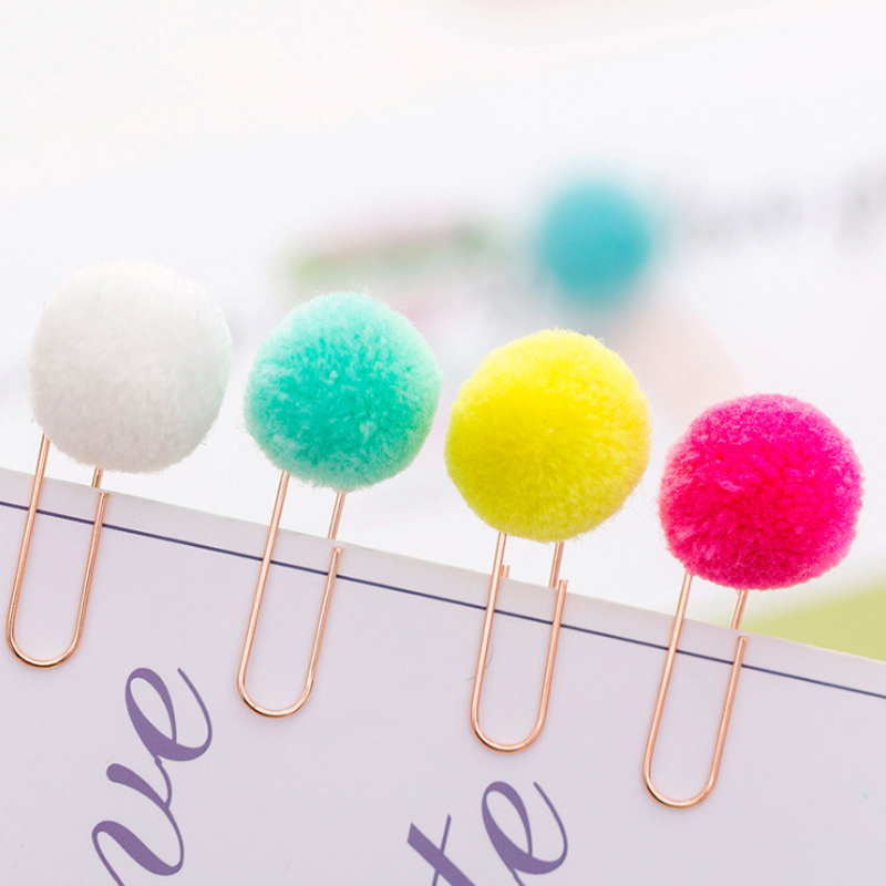 6pcs/pack Colored Hair Ball Paper Clip Office School Supplies Stationery For Novelty Books