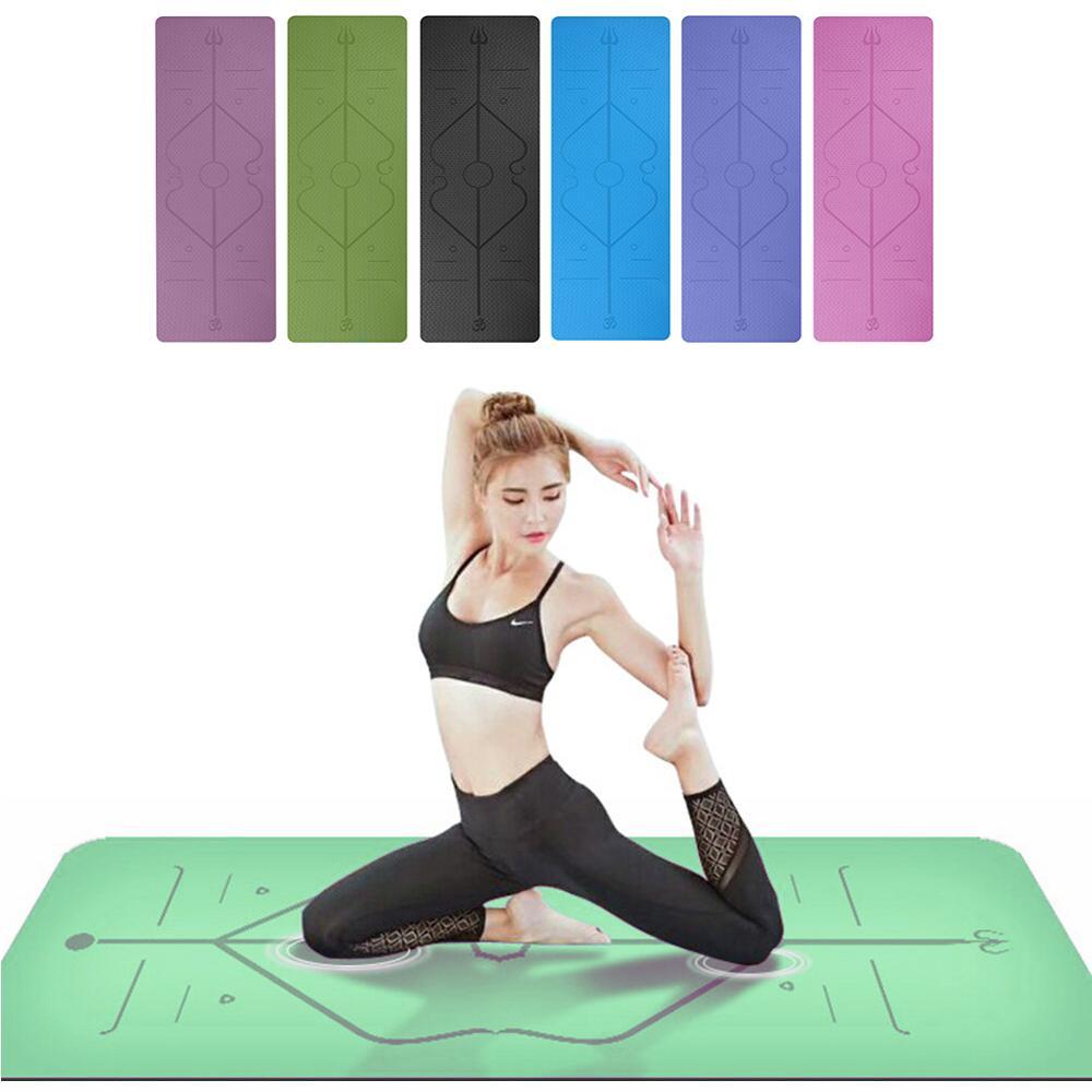 No-slip alfombras para yoga de TPE insípido Pilates gimnasio deporte habitación almohadillas para Fitness cuerpo edificio con línea de posición