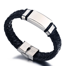 Punk Wide Men Bracelet Stainless Steel Cuff Bangle Silver Hand Black Silicon Wristband Steel Weave Leather Bracelets pulsera new fashion punk jewelry men bracelet stainless steel cuff bangle silver hand chain black silicone wristband