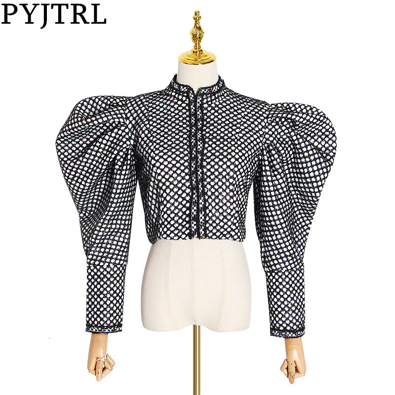 PYJTRL Autumn Plaid Coat For Women Fashion Puff Sleeve Short Female Streetwear Hidden Buttons Jacket