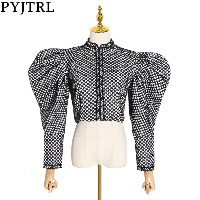 PYJTRL Autumn Plaid Coat For Women Fashion Puff Sleeve Short Female Streetwear Hidden Buttons Jacket