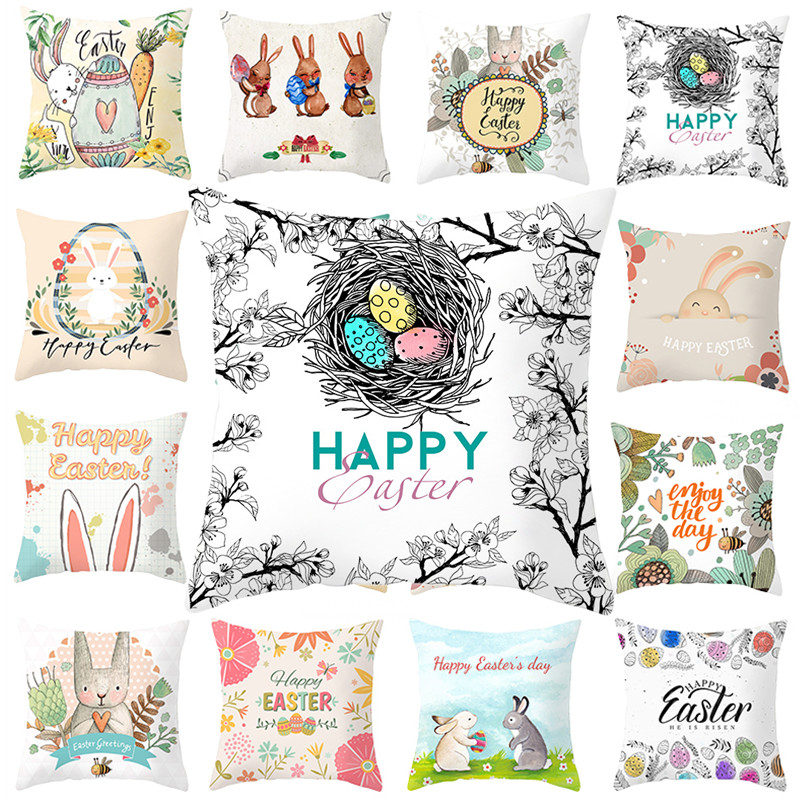 45cmx45cm Easter Egg Rabbit Cushion Cover Bunny Egg Print Throw Pillow Case Happy Easter Party Home Decor Sofa Seat Ornament