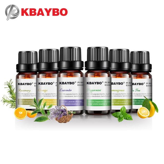KBAYBO 10ml * 6 בקבוקים טהור חיוני שמני ארומתרפיה מפזרים לבנדר עץ תה עשב לימון תה עץ רוזמרין כתום שמן