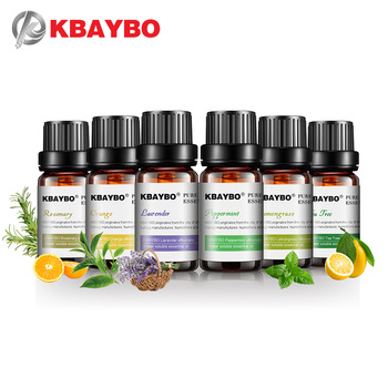 KBAYBO 10ml*6bottles Pure essential oils for aromatherapy diffusers lavender tea tree lemongrass rosemary Orange oil