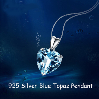 Natural Blue Topaz Pendant Sterling Silver Necklace  1