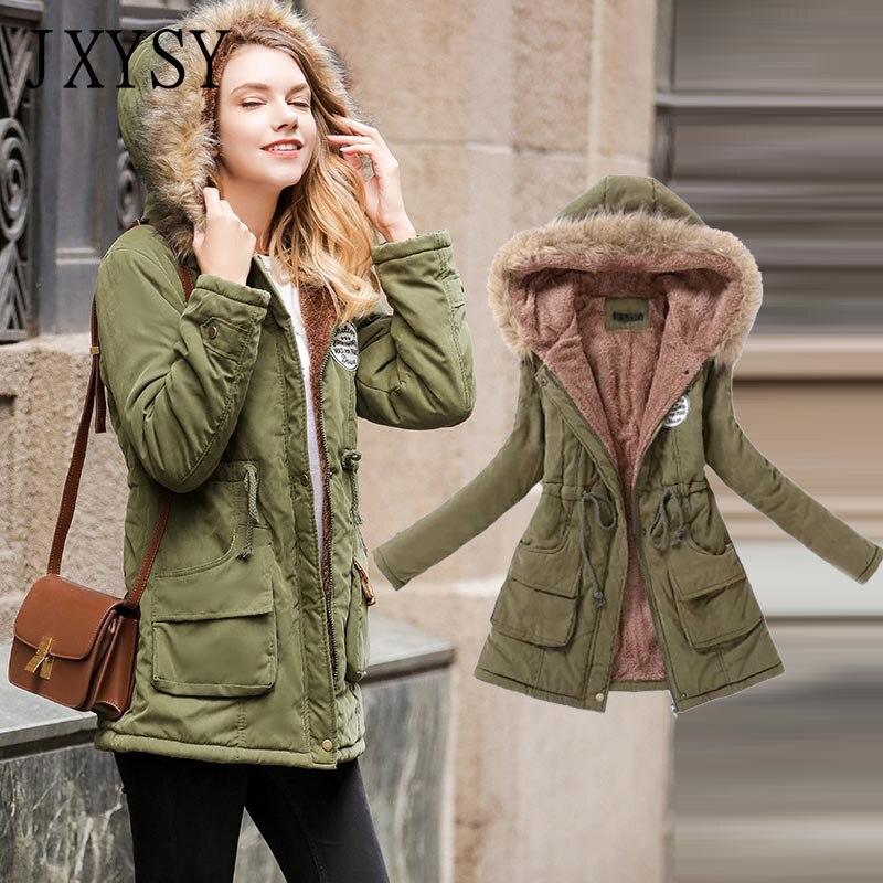 JXYSY Women Winter Coats 2019 New Hooded Warm Winter Jacket Women Parka Long Cotton Padded Outwear Female Jacket Coat Plus Size