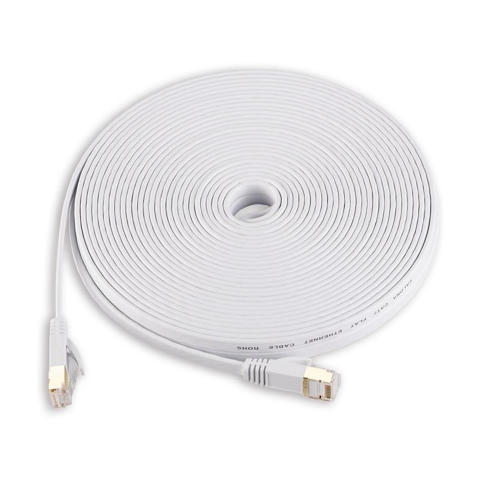 1m 5m 15m 30m White Ethernet Cable Cat 7 Cat7 Flat Network Patch Cable RJ45 SSTP Lan Cable Modem Router CAT7 Ethernet Cable Flat