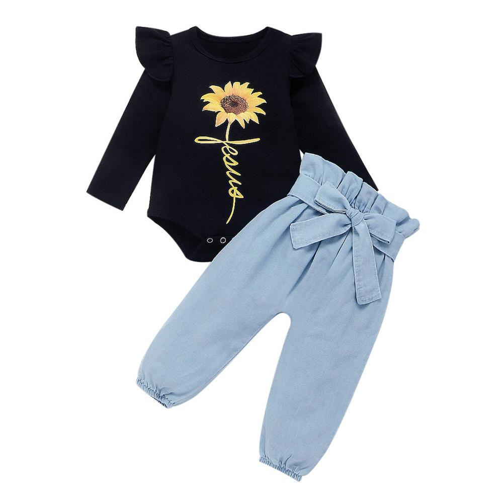 Kids Baby Girls Long Sleeve Sunflower Printed Rompers+Pants 2Pcs Outfits Set NEW