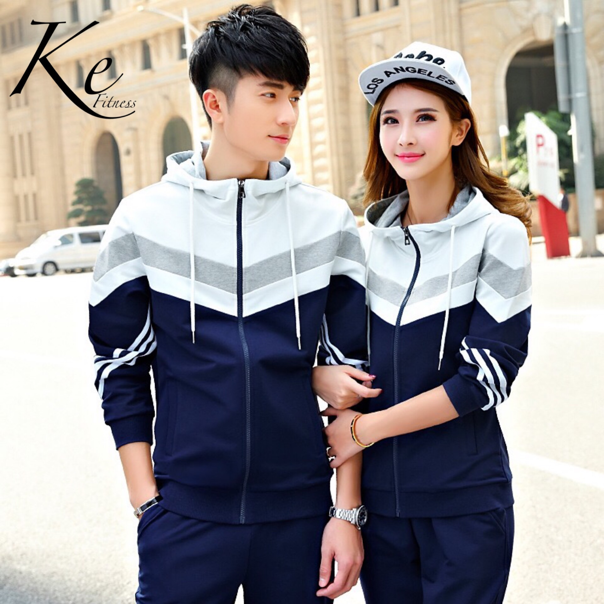 KE New Sports For Autumn Casual Suit Couple Tracksuit Man Woman Sportswear Big Size Plus To 4XL  Sportswear 2 Pieces Sport Set